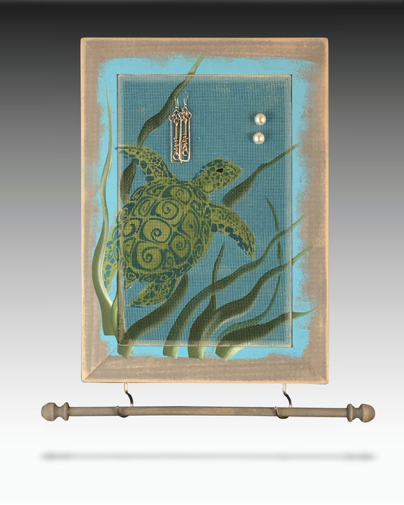 Earring Holder & Jewelry Organizer with sea turtle design