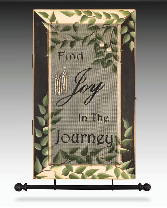 Hanging Earring Holder and Jewelry Cabinet with Joy in the Journey Design