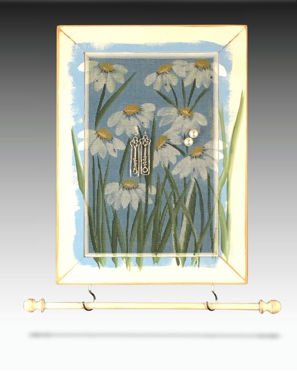 Hanging Earring Holder & Jewelry Organizer - Daisies