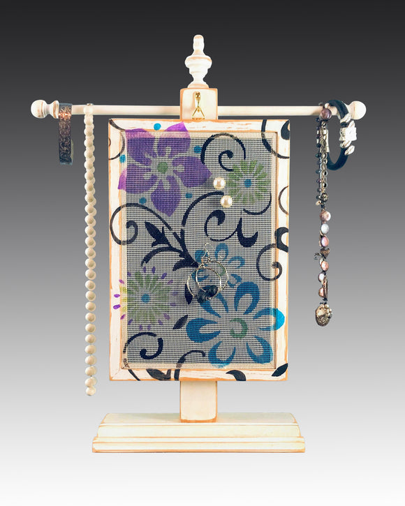 Earring Holder hanging on a jewelry tree & hand painted with floral scroll design