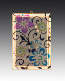 earring holder with a hand painted Floral Scroll design