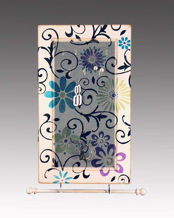 Earring Holder & Jewelry Organizer Cabinet - Floral Scroll Design