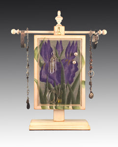 Earring Holder hanging on a jewelry tree & hand painted with  iris design