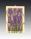 earring holder with a hand painted Iris design