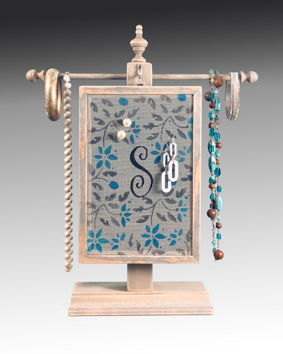 Classic Earring Holder - Monogram - Jacobean