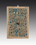 earring holder with a hand painted Jacobean design