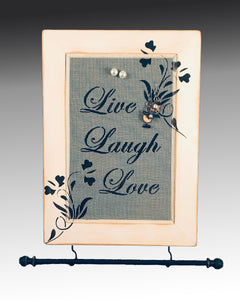 Wall Hanging Earring Holder & Jewelry Organizer - Live Laugh Love