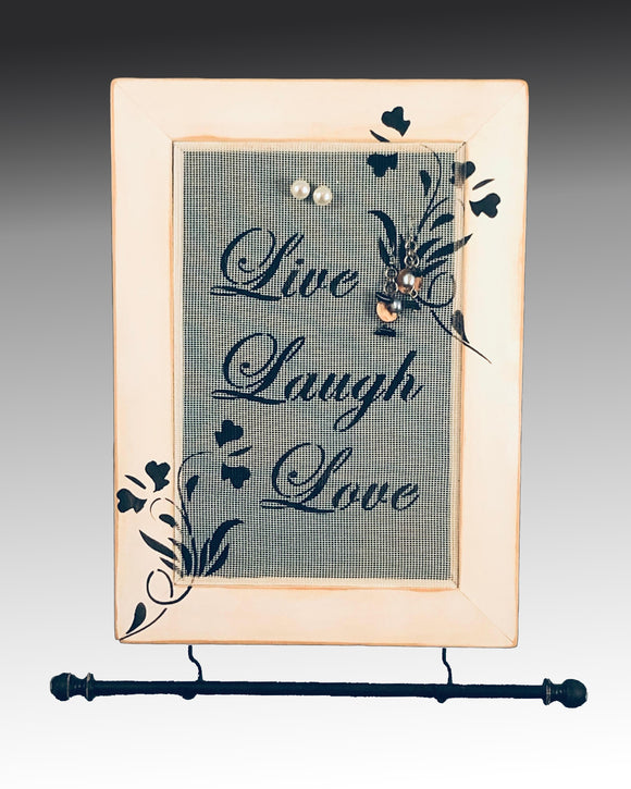 Hanging Earring Holder & Jewelry Organizer - Live Laugh Love