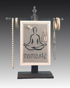Earring Holder hanging on a jewelry tree & hand painted with  Namaste design