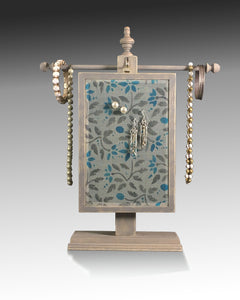 Earring Holder Hanging on Jewelry Tree with Jacobean design