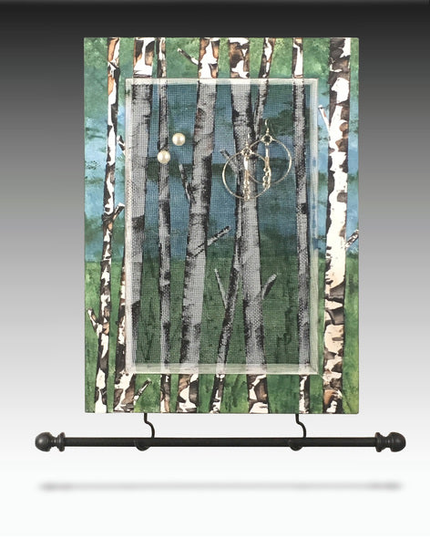 Hanging Earring Holder & Jewelry Organizer - Birch Trees