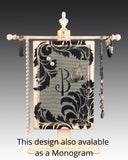 earring holder on jewelry tree with damask design and monogram
