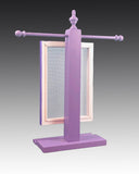 back view of purple necklace stand with earring holder - Earring Holder Gallery