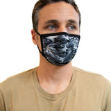 Grey Camo Antimicrobial Face Mask With Filter Pocket - Social Distance Mask Company