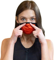 Orange Cloth Face Mask With Filter Pouch