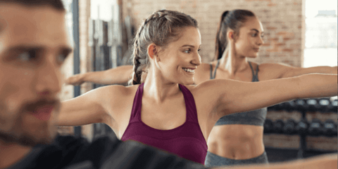 people doing home workout to release stress