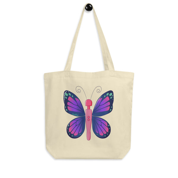 A cream eco tote bag printed with Acid Nova's Buzzerfly design, a pink and purple butterfly motif with a twist, a wand vibrator as the body.