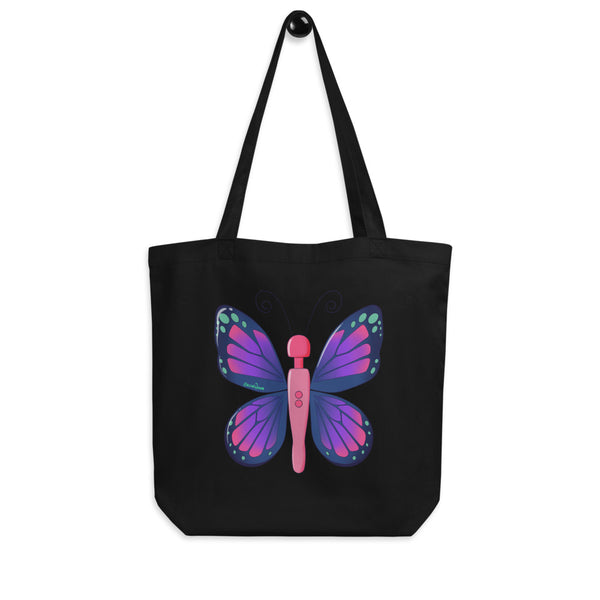 An black eco tote bag printed with Acid Nova's Buzzerfly design, a pink and purple butterfly motif with a twist, a wand vibrator as the body.