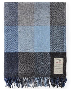Irish Lambswool Throw - Denim
