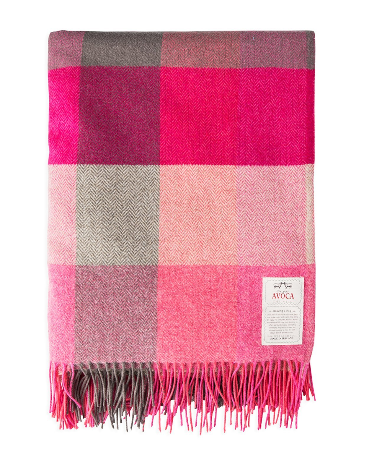 Plaid Lambswool Pink Fields
