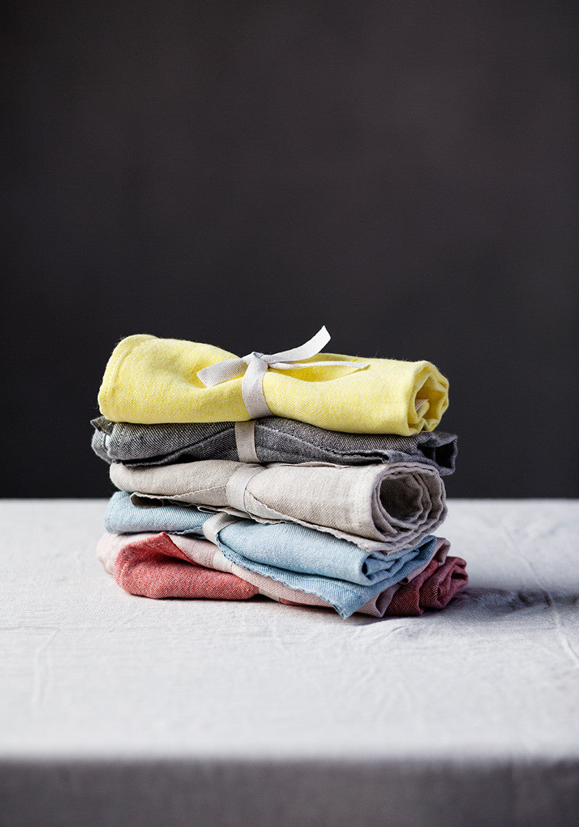 Mono washed linen tea towel