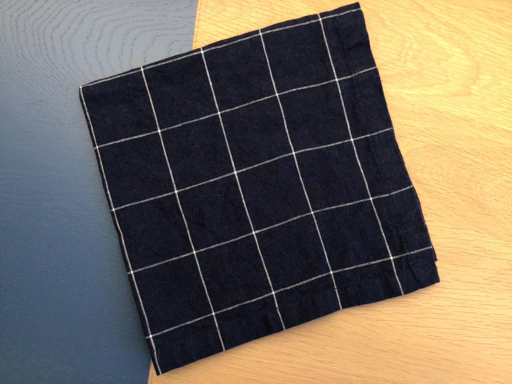 Large check linen napkin Navy