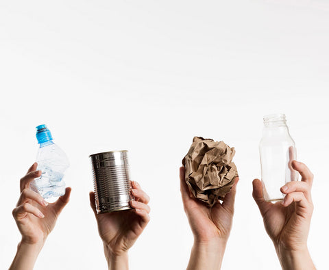 recycled products like paper, metal, glass and plastic