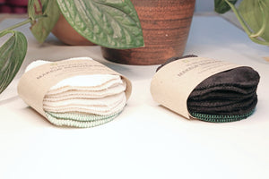 reusable makeup remover pads made with 100% organic cotton in white and black