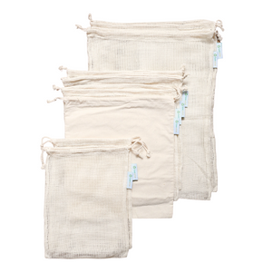 reusable produce bags mesh and bread bags made in 100% organic cotton check the sizes