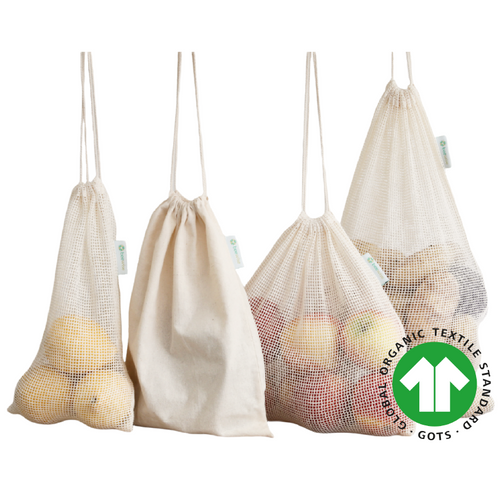 reusable produce bags mesh and bread bags made in 100% organic cotton