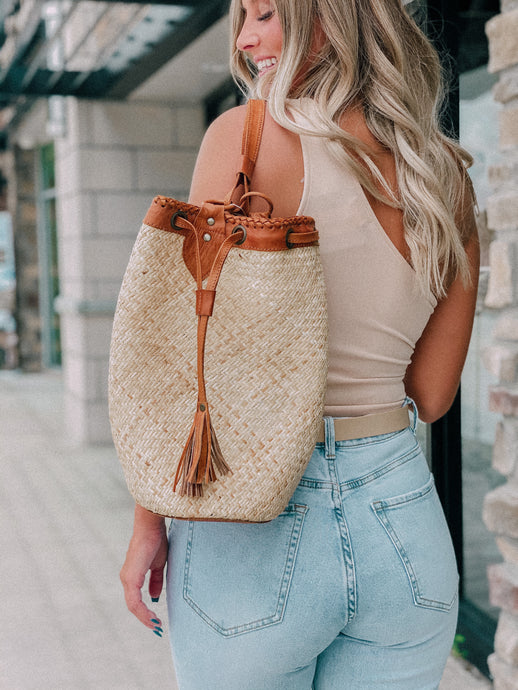 Raja Drawstring Straw Backpack