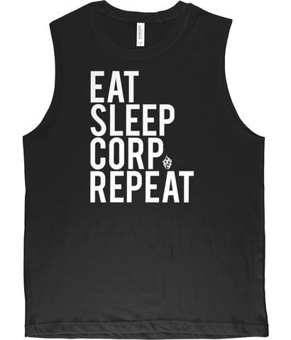 Canvas Jersey Muscle Tank Top Eat, Sleep, Corp, Repeat