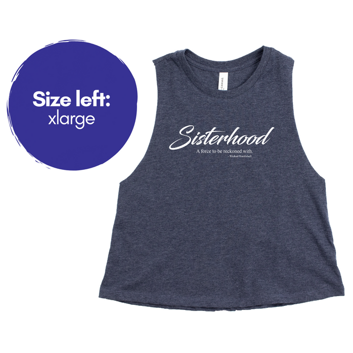 Sisterhood - Heather Navy Crop Tank - Wicked Bombshell Apparel