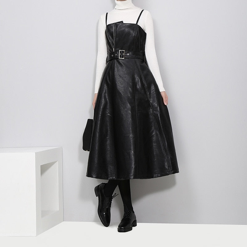 Gabriel Minimalist Leather Dress