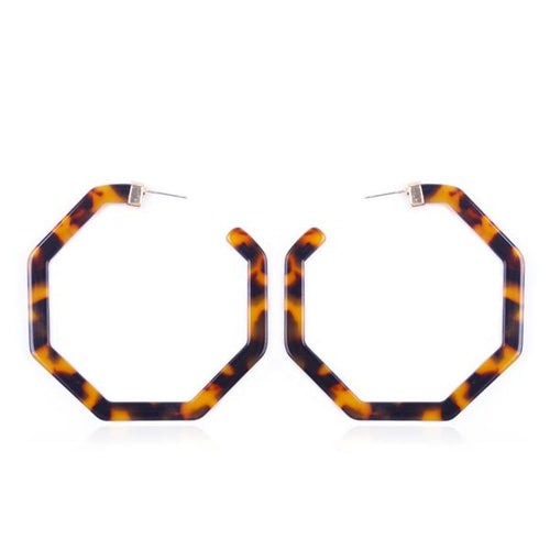 Octagon tortoise color shaped hoops