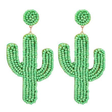 Load image into Gallery viewer, Cactus shaped beaded handmade earrings.