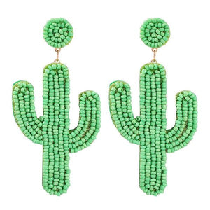 Cactus shaped beaded handmade earrings.