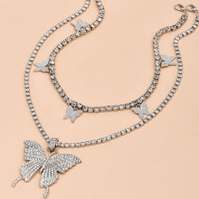 Load image into Gallery viewer, rhinestone butterfly chain rhinestone butterfly chain and choker