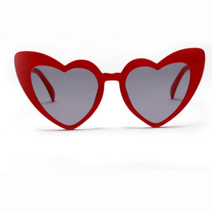 Large red colored heart shaped sunglasses
