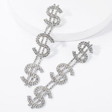 Load image into Gallery viewer, Rhinestone dollar sign symbol drop earrings.