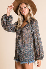 Load image into Gallery viewer, Flower Child Smocked Neck Long Sleeve Top // Navy