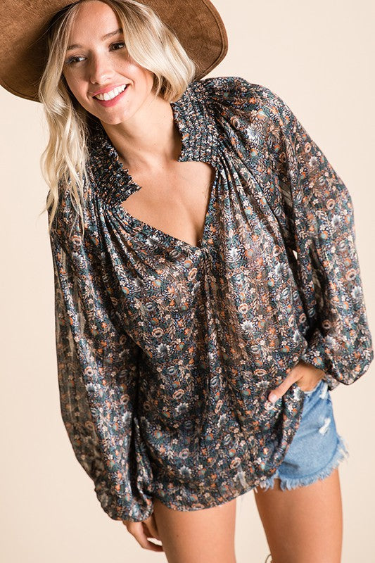 Flower Child Smocked Neck Long Sleeve Top // Navy