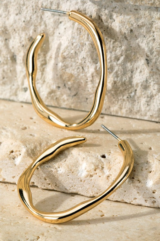 Metal Hoop Earrings // Gold