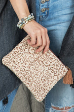 Load image into Gallery viewer, Handmade Weave Block Clutch // Taupe