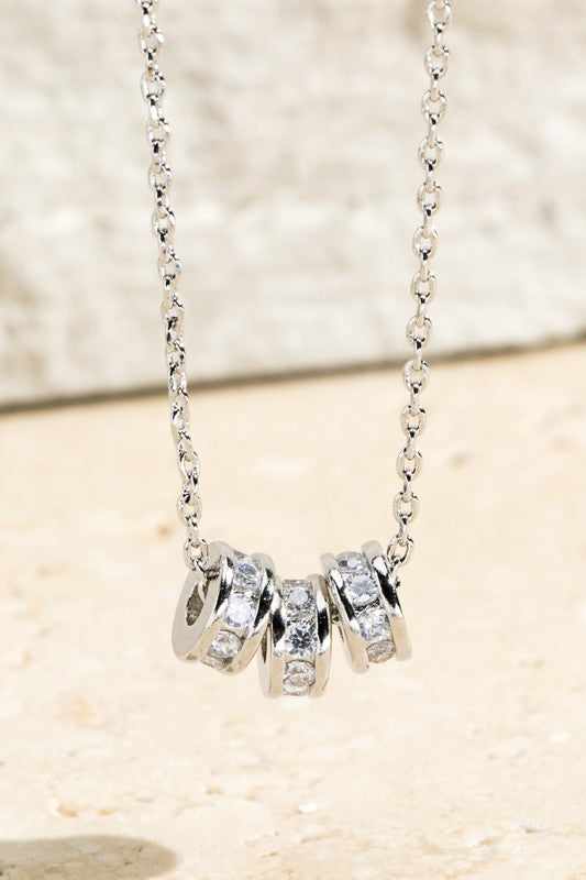 Crystal Charms Necklace // Silver