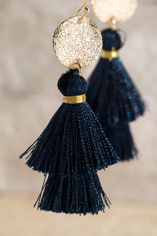 Tassel Earrings // Navy