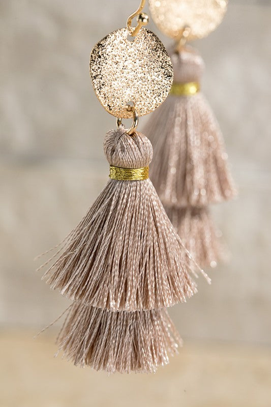 Tassel Earrings // Taupe