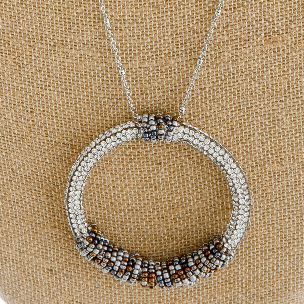Circle Beaded Long Necklace
