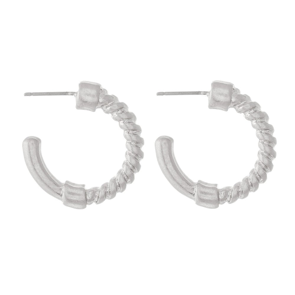 Rope Hoop Earrings // Silver