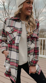 Load and play video in Gallery viewer, Winter Thrills Plaid Shacket // Ivory Red